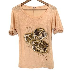 J Crew beaded and sequent graphic T shirt